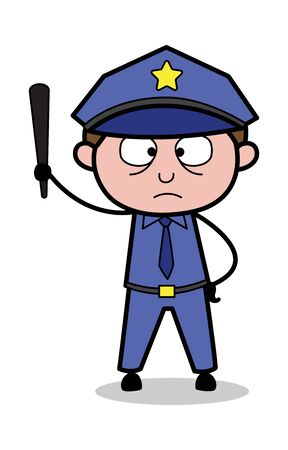 Holding a Stick and Showing - Retro Cop Policeman Vector Illustration Ilustrace