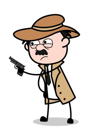 Pointing Gun - Retro Cartoon Police Agent Detective Vector Illustration