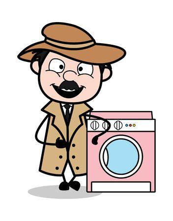 Présentation d'une machine à laver - Retro Cartoon Police Agent Detective Vector Illustration