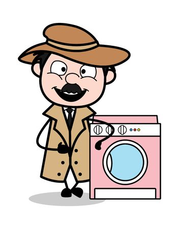 Presenting a Washing Machine - Retro Cartoon Police Agent Detective Vector Illustration