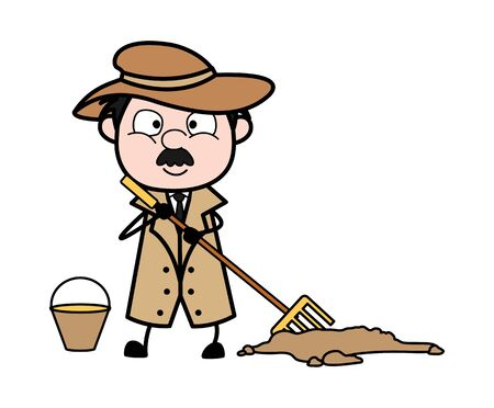 Cleaning Trash - Retro Cartoon Police Agent Detective Vector Illustration