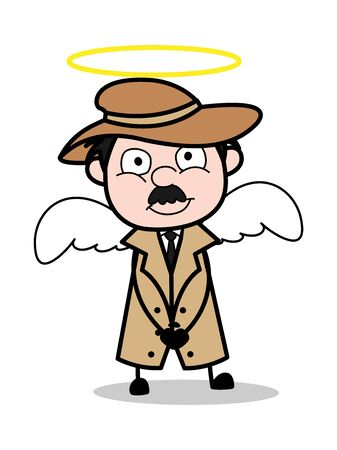 Detective in Angel Costume - Retro Cartoon Police Agent Detective Vector Illustration