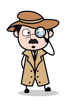 Searching with Magnifier - Retro Cartoon Police Agent Detective Vector Illustration