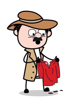 Regardant la chemise - Retro Cartoon Police Agent Detective Vector Illustration