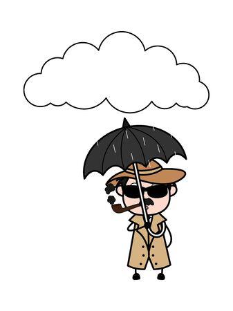 Standing in Rain with Umbrella - Retro Cartoon Police Agent Detective Vector Illustration Illustration