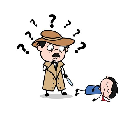 Confuso per il mistero dell'omicidio di un bambino - Illustrazione vettoriale di un agente di polizia dei cartoni animati retrò