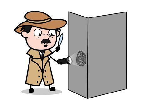 Recherche avec loupe - Retro Cartoon Police Agent Detective Vector Illustration