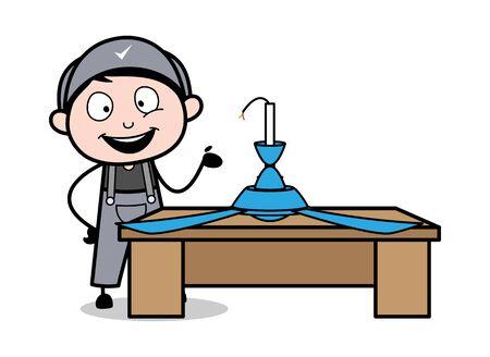 Presenting a Ceiling Fan - Retro Repairman Cartoon Worker Vector Illustration Illustration
