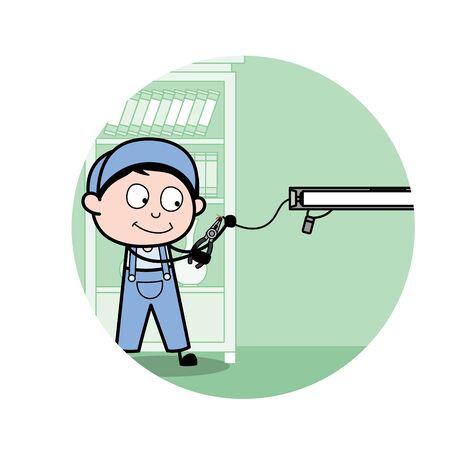 Adjusting Wire of Tube Light - Retro Repairman Cartoon Worker Vector Illustration