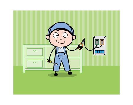 Repairing Wire in Electric Board - Retro Repairman Cartoon Worker Vector Illustration