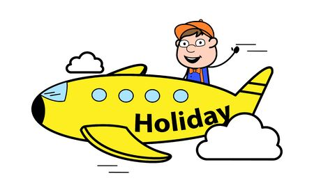 Travelling with Plane - Retro Cartoon Carpenter Worker Vector Illustration