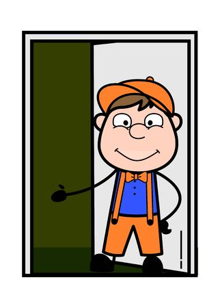 Inviting to Come Inside the House - Retro Cartoon Carpenter Worker Vector Illustration Stock Illustratie