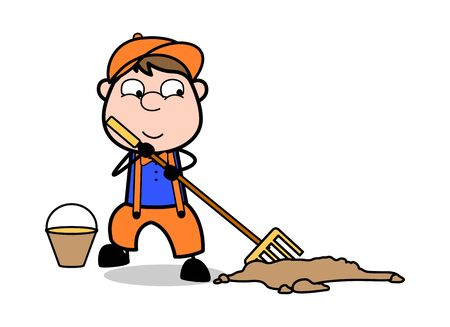 Brooming - Retro Cartoon Carpenter Worker Vector Illustration