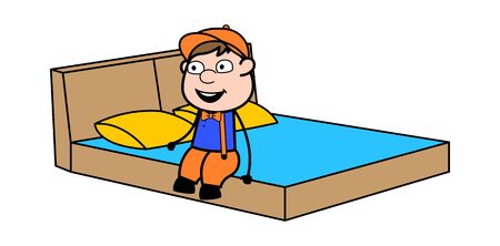 Relaxing and Going to Sleep - Retro Cartoon Carpenter Worker Vector Illustration 일러스트