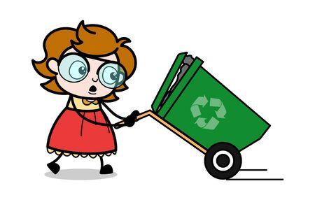 Dragging a Recycle bin - Teenager Cartoon Intelligent Girl Vector Illustration Illustration