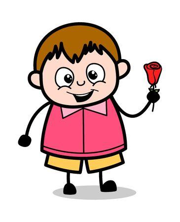 Mostrando una flor color de rosa - adolescente de dibujos animados Fat Boy Vector ilustración