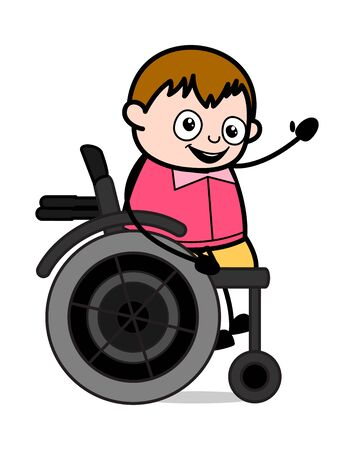 Sitting on Wheel Chair and Gesturing with Hand - Teenager Cartoon Fat Boy Vector Illustration