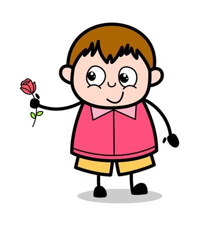 Presenting a Rose on Valentine - Teenager Cartoon Fat Boy Vector Illustration