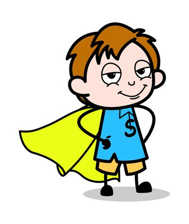 Kid in Super Hero Costume - School Boy Cartoon Character Vector Illustration Çizim