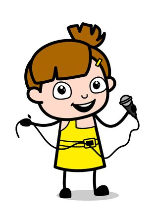 Singing in a Concert - Cute Girl Cartoon Character Vector Illustration