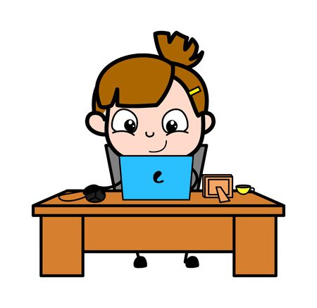 Doing Office Work on Laptop - Cute Girl Cartoon Character Vector Illustration