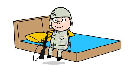 Relaxing on Bed - Cute Army Man Cartoon Soldier Vector Illustration Çizim