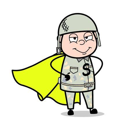Army Man as a Super Hero - Cute Army Man Cartoon Soldier Vector Illustration