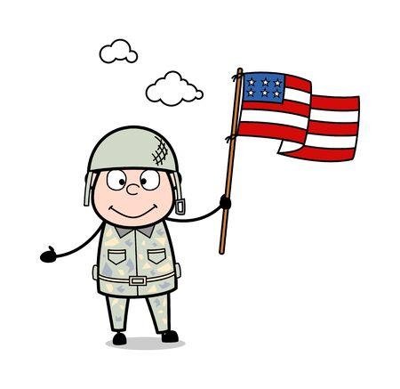 Holding USA Flag - Cute Army Man Cartoon Soldier Vector Illustration Çizim