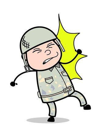 Got Hitted - Cute Army Man Cartoon Soldier Vector Illustration Illustration