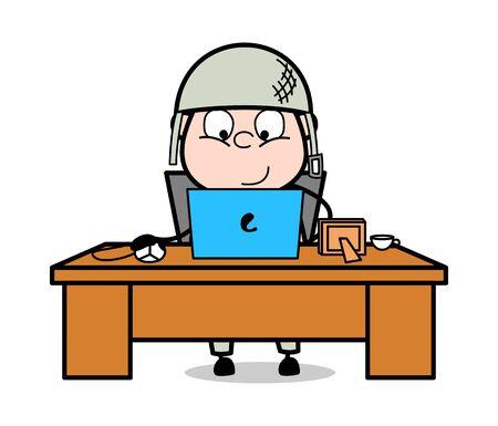 Working Online Work on Laptop - Cute Army Man Cartoon Soldier Vector Illustration