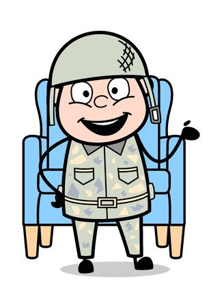 Happily Presenting - Cute Army Man Cartoon Soldier Vector Illustration Stock Vector - 127623151