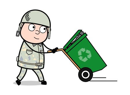 Holding a Recycle Bin - Cute Army Man Cartoon Soldier Vector Illustration