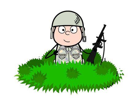 Hidden in Bushes - Cute Army Man Cartoon Soldier Vector Illustration Çizim