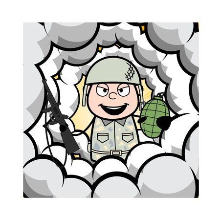 Middle of Smoke Frame - Cute Army Man Cartoon Soldier Vector Illustration Çizim