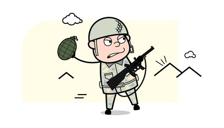 Throwing Grenade - Cute Army Man Cartoon Soldier Vector Illustration
