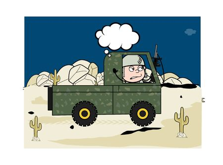 Carrying Rock Stones in Truck - Cute Army Man Cartoon Soldier Vector Illustration