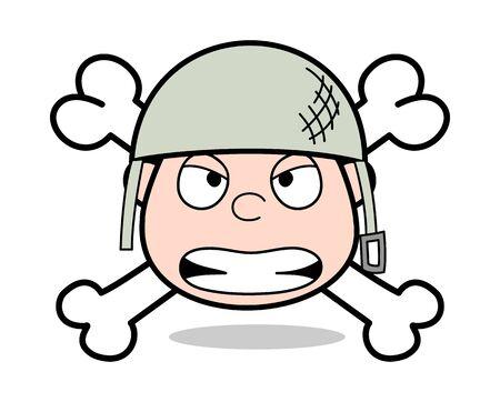 Danger Face - Cute Army Man Cartoon Soldier Vector Illustration Stock Vector - 127634760