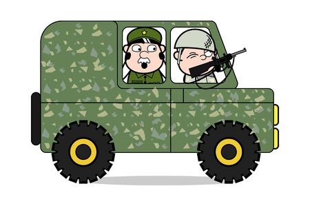Shooting From Inside the Car - Cute Army Man Cartoon Soldier Vector Illustration