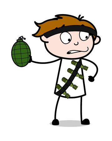 A Terrorist Throwing a Bomb - Cute Army Man Cartoon Soldier Vector Illustration