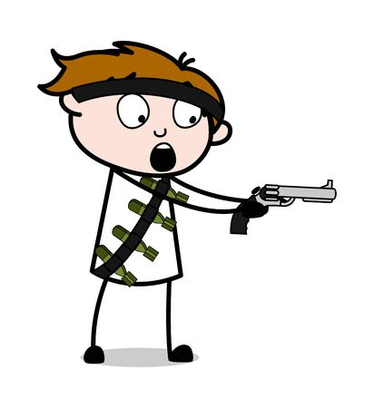 Criminal Shooting with Gun - Cute Army Man Cartoon Soldier Vector Illustration Illustration