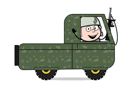 Soldier Cheering Inside the Car - Cute Army Man Cartoon Soldier Vector Illustration