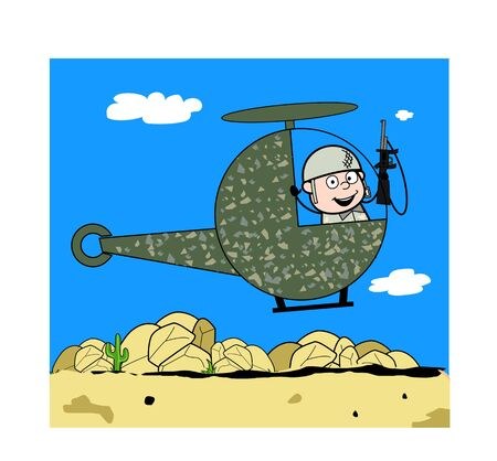 Flying in Helicopter - Cute Army Man Cartoon Soldier Vector Illustration