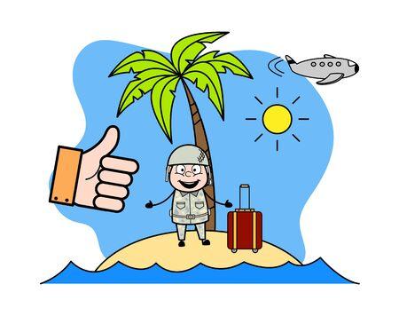 Holiday at Beach - Cute Army Man Cartoon Soldier Vector Illustration