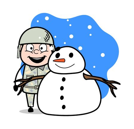 Military Man with Snowman - Cute Army Man Cartoon Soldier Vector Illustration