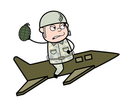 Sitting on Jet and Ready to Throw Bomb - Cute Army Man Cartoon Soldier Vector Illustration Illustration