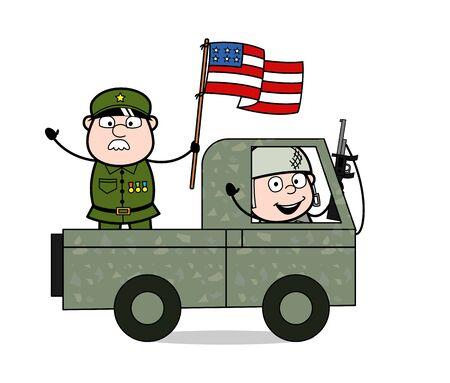 Patriotic Soldier - Cute Army Man Cartoon Soldier Vector Illustration