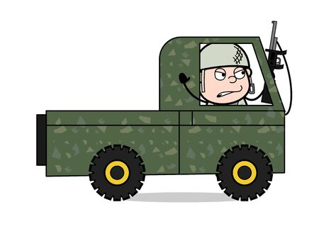 Holding a Gun and Going in Car - Cute Army Man Cartoon Soldier Vector Illustration