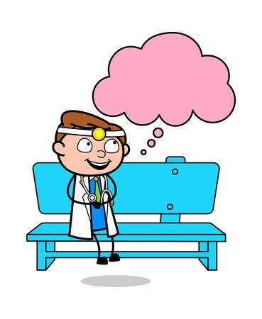 Sitting and Thinking a Plan - Professional Cartoon Doctor Vector Illustration