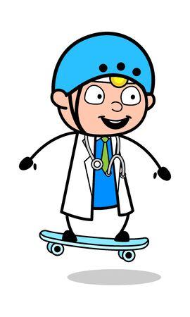 Skateboarding - Professional Cartoon Doctor Vector Illustration 向量圖像