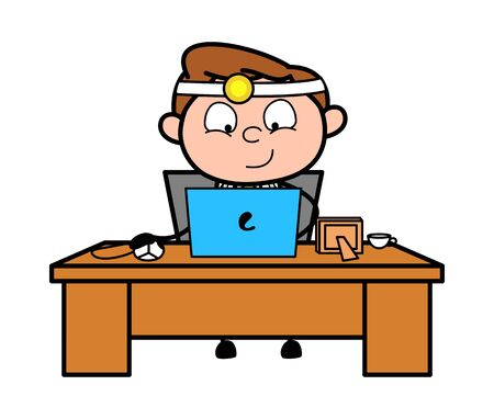 Working on Laptop - Professional Cartoon Doctor Vector Illustration